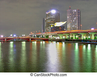 Sumidagawa 1 - Sumidagawa River at night in Asakusa district...