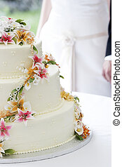 Wedding cake and couple - A wonderful wedding cake with the...