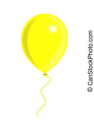Yellow balloon, balloon series, object isolated,...