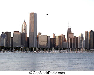 Chicago And Chicago River - downtown chicago city skyline as...
