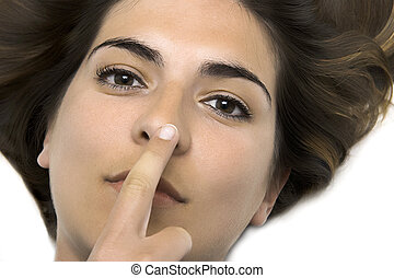 touching the nose - Young woman with the finger on the nose