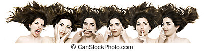 Funny faces - Doing different faces - same woman in six...