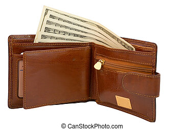 purse - the brown purse and dollars banknotes isolated on...