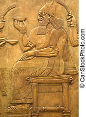 Assyrian fresco on the wall - Antique Assyrian fresco