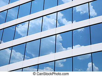 Office - Building windows with Clouds reflection