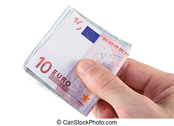 Euro payment - Mans hand holding Euro bank notes for payment...