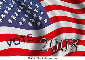 Vote 2008 - american flag waving in the wind