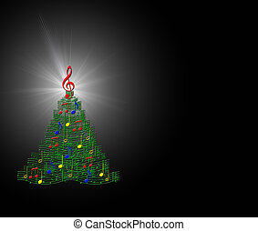 Musical Christmas Tree - Abstract of musical symbols forming...