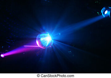 Disco Bal - Sphere - and fantastic light rays reflecting the...