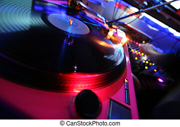 Vinyl Player - DJ music vinyl player at disco