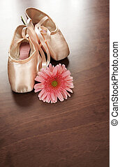 Ballet Shoes and Flower - Pink satin ballet shoes on dark...