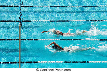 Competitive Swimming - The swimmers competing at a high...