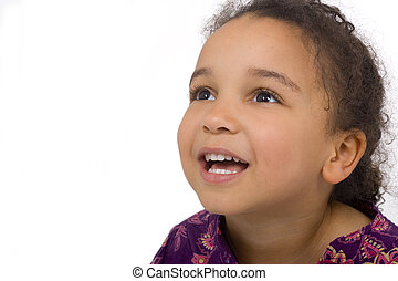 Happy Face - Studio shot of a beautiful mixed race girl...