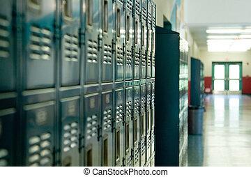 School Lockers - A row of school lockers outside a class...