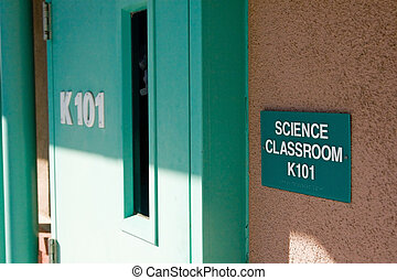 School Classroom - A door leading to a science class room at...