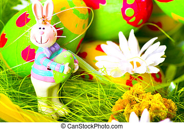 Easter bunny and eggs composition