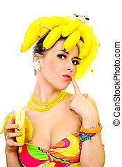 Banana lady, isolated on white