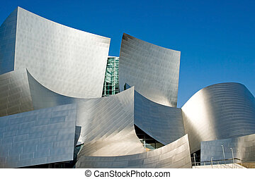 Modern Concert Hall - The gleaming stainless steel of a...