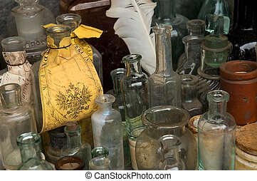 Old medicine bottles at a flea market