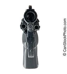 Black 9mm gun isolated over white