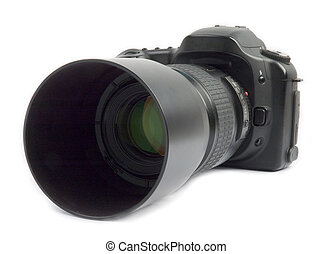 Professional digital camera with zoom lens over white...