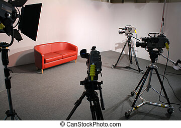 3 Camera TV Studio - Television production Studio with red...