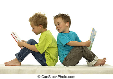 That\\\'s a Funny Book - Two friends reading a book, one boy...
