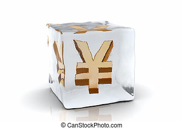 Frozen Yen - A golden Yen symbol frozen inside an ice cube...