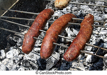 Cypriot sausages - Traditional cyprus sausages on charcoal