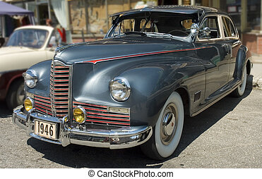 American vintage car 1 - An old 1946 American car shined and...
