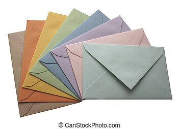 Colorful envelopes - Multicolored envelopes isolated on...