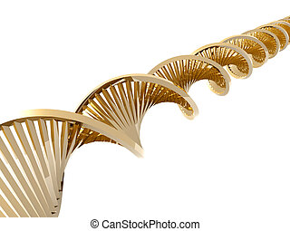 Golden DNA Helix - 3D rendered double Helix DNA