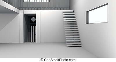 Concrete House Interior - 3D rendered Illustration. Natural...