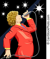 Sing - Illustration of a singer on stage with clipping path