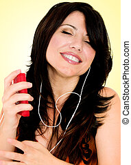 Brunette with electronic mp3 player
