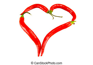 heart figure - the heart figure from chili peppers on white...