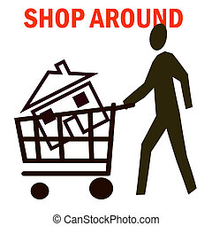 house shopping - house in grocery cart shop around poster
