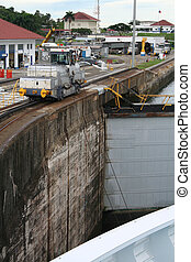 Panama Canal Lock - Ship entering a lock at the entrance to...