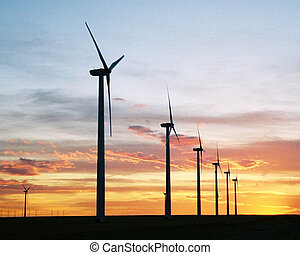 Energy Sunset - Wind generators at sunset in SE Colorado