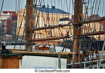 port scene - ships and buildings around port of helsinki