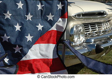 stars and stripes with classic car background