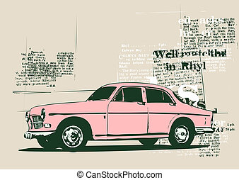vintage car - Illustration of old vintage custom...