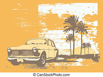 vintage car - illustration of vintage car on the beach with...