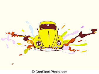 retro car - illustration ofold custom Volkswagen Beatle on...