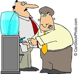 Water Cooler - This illustration depicts two office workers...