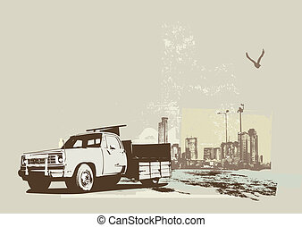vintage truck - illustration of vintage truck on the grunge...