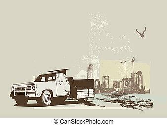 vintage truck - illustration of vintage truck on the grunge...