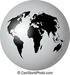 world globe - black and white world globe isolated on white