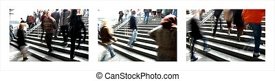 moving through town - Collage of 3 pictures of busy stairs...