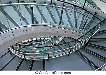 Ellipse stairway - Modern metal and glass stairway in...